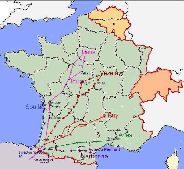 chemin saint jacques de compostelle carte Cartes des chemins vers Compostelle en France classés par voie