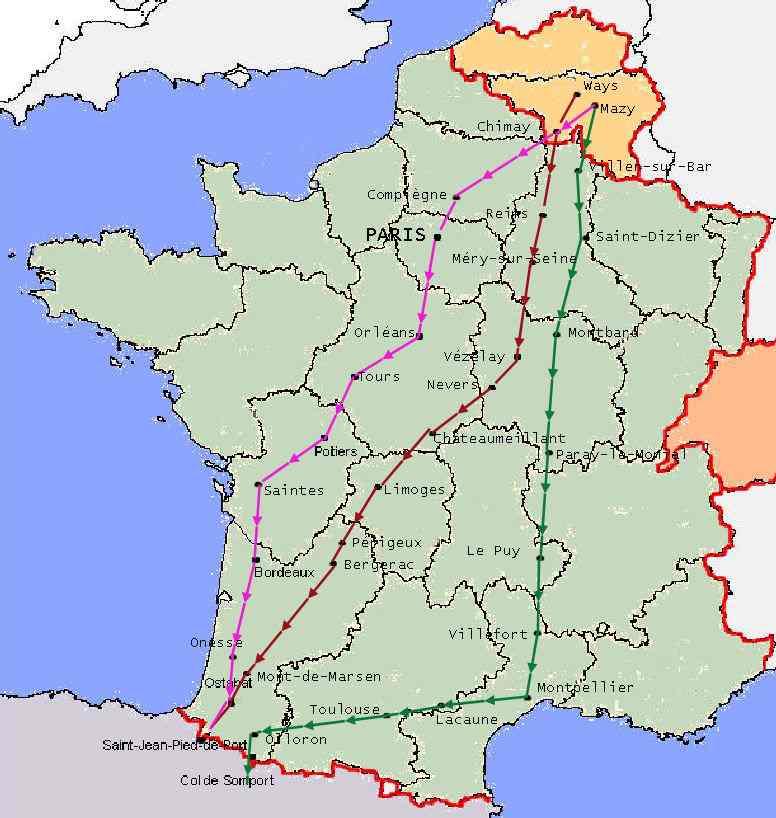 chemin saint jacques de compostelle carte Cartes des chemins vers Compostelle et de la Via Francigena